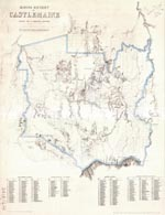 An old map of the area around Castlemaine showing surrounding townships, geological features, waterways and mining sites