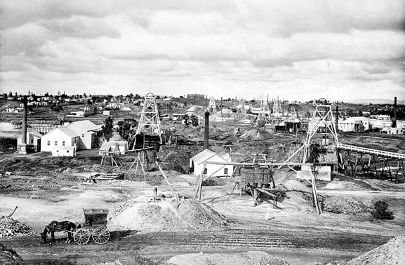 View of Sandhurst from Belmont and Saxby mines, Bendigo, 1888.