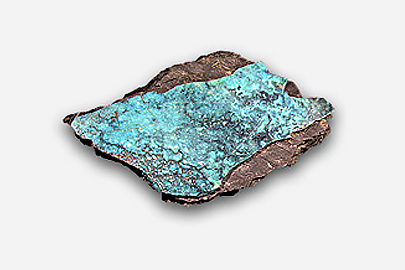 A dark grey rock with a streak of turquoise on top.