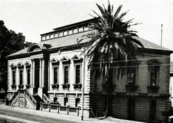 Black and white photo of the Geological Museum building