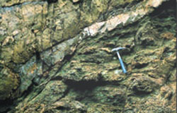 A pale band of rock shown running through a darker section of rock face