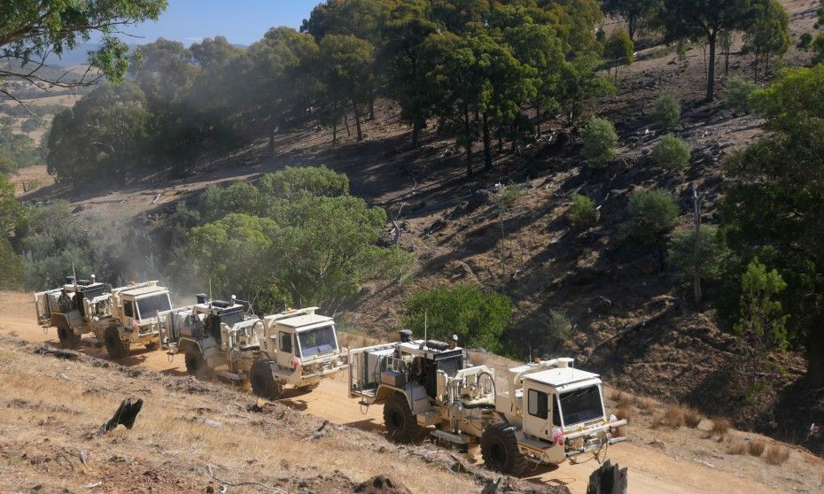 Trucks driving through Victorian Alps